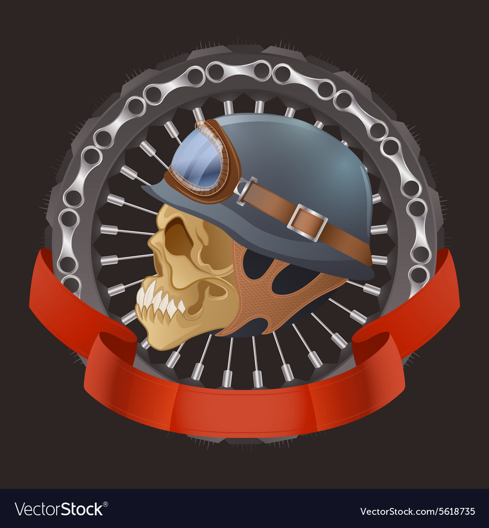 Skull motorcyclists with helmet vector
