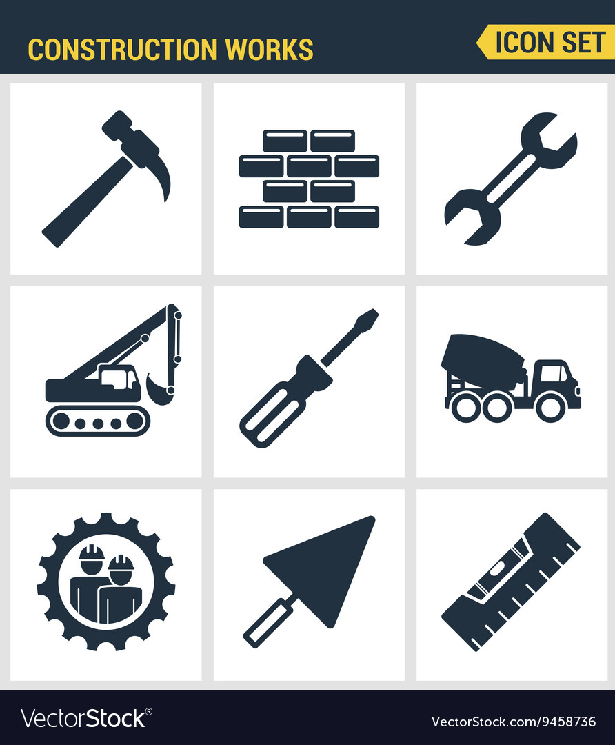 Icons set premium quality of construction works on vector