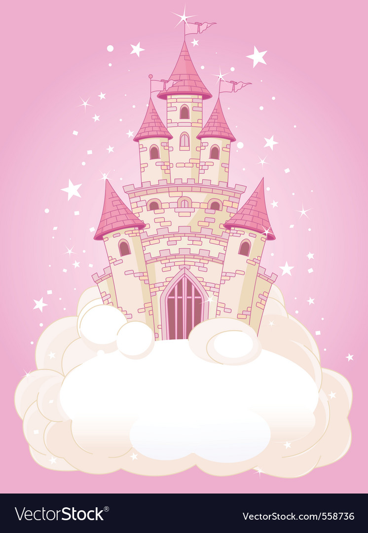 Princess fairytail castle vector