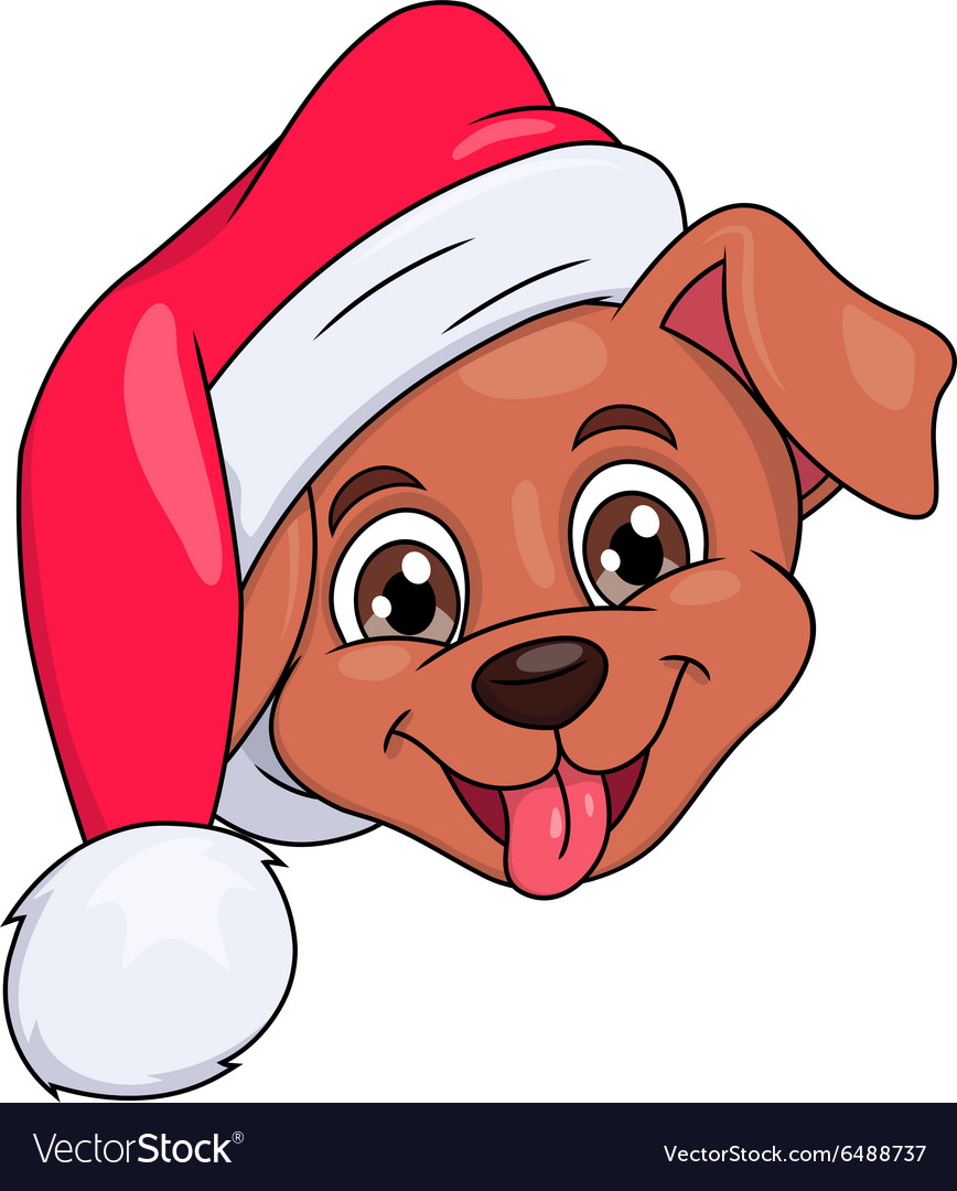 Little puppy with santa hat 4 vector