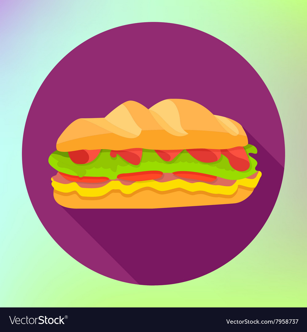Sandwich flat fast food icon vector