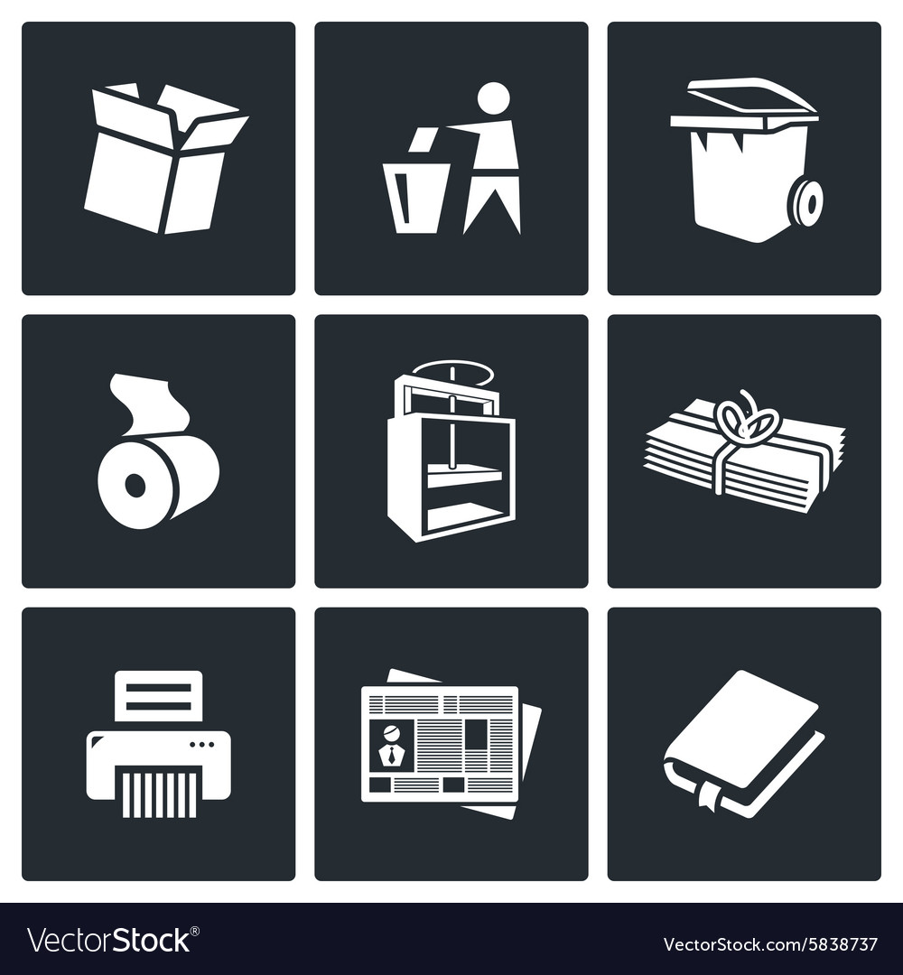 Waste paper icons vector