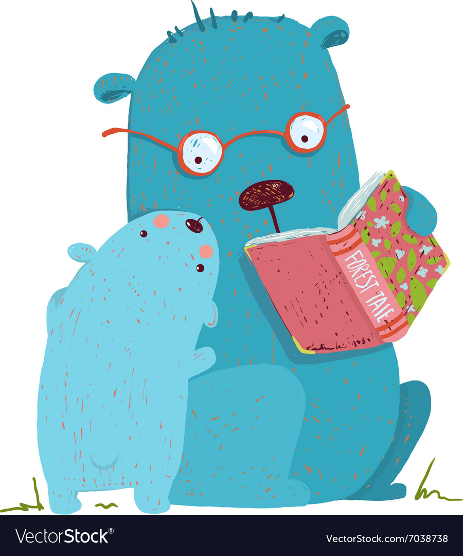 Bear parent reading book to kid vector