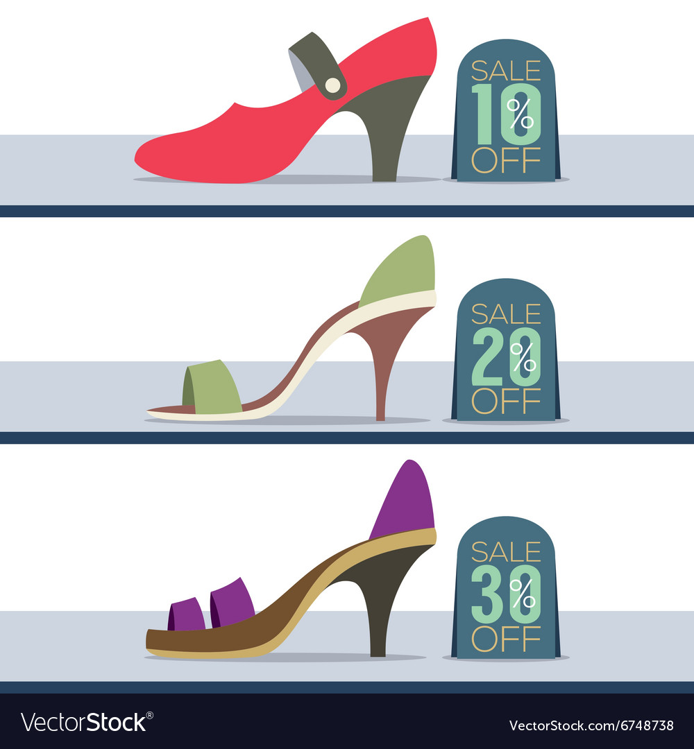 Colorful high heel shoes on sale vector