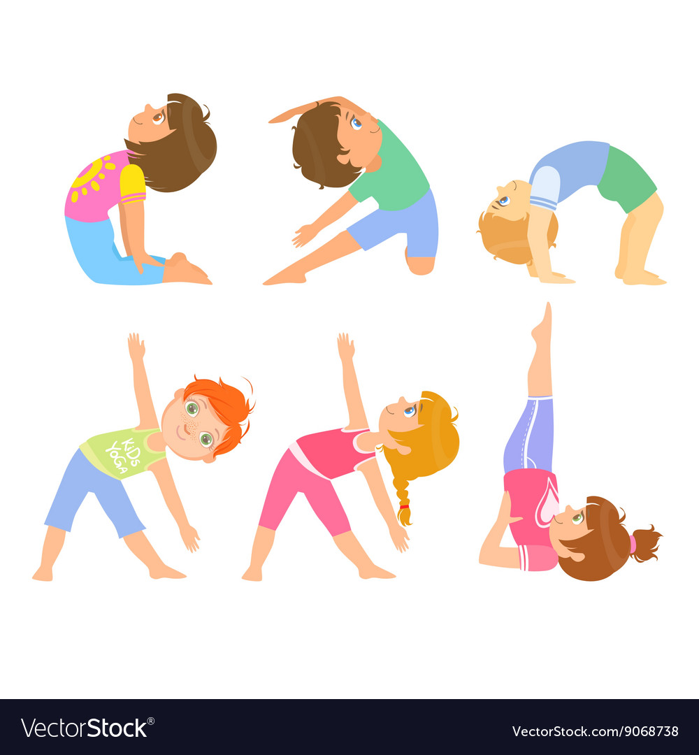 Kids doing simple yoga poses vector