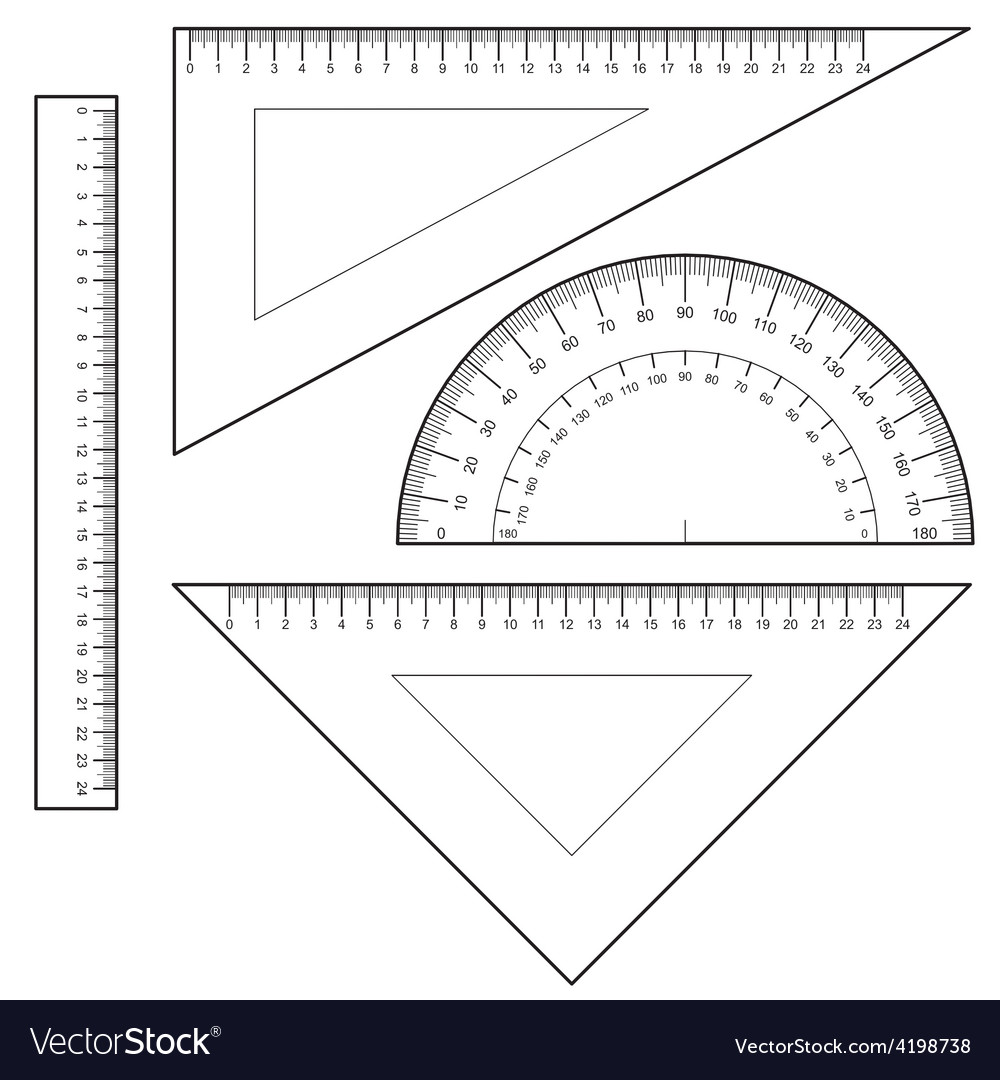 Protractor ruler set vector