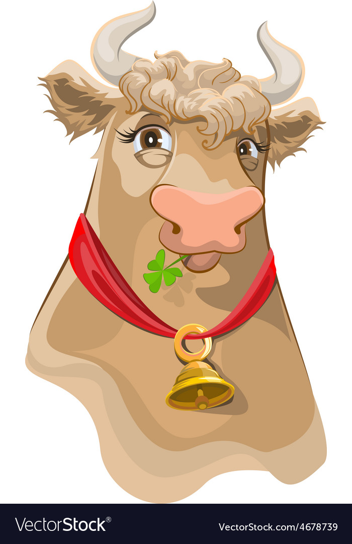 Brown head with bell cow chewing clover vector