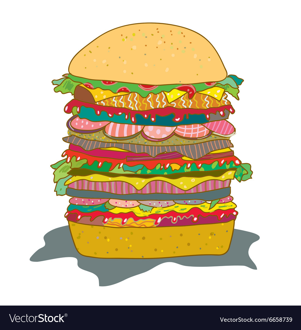 Hamburger with salad funny cartoon vector