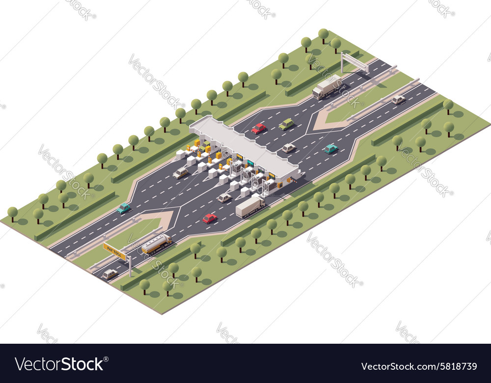 Highway toll gate vector