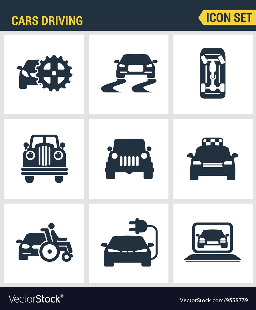 Icons set premium quality of cars driving vector