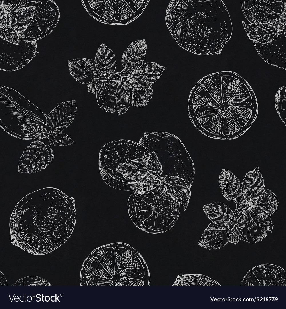 Seamless pattern with chalk lime and mint on vector
