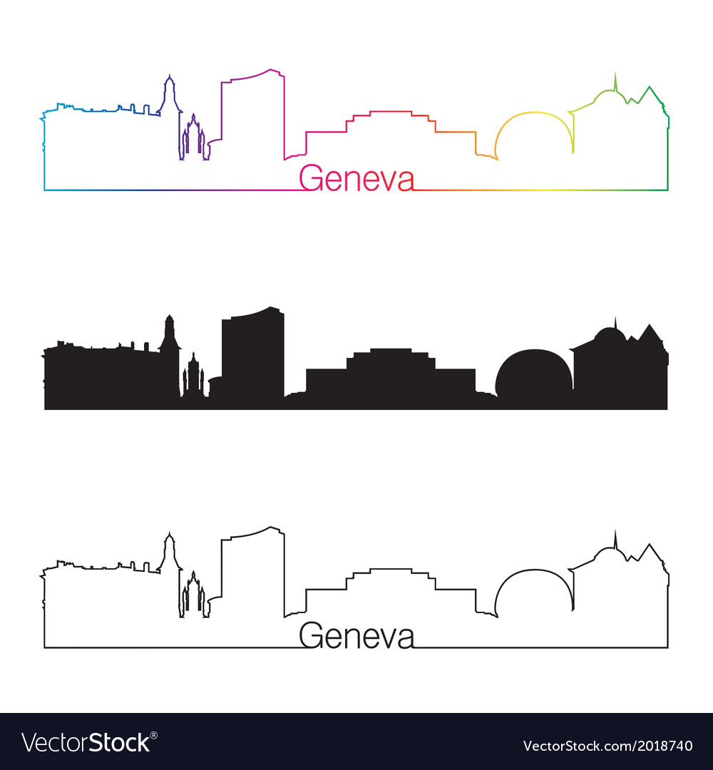 Geneva skyline linear style with rainbow vector