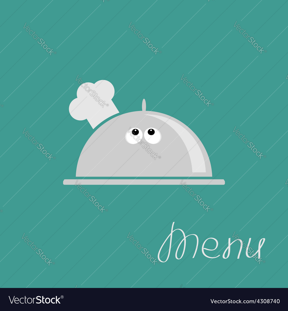Silver platter cloche chef hat with eyes menu card vector