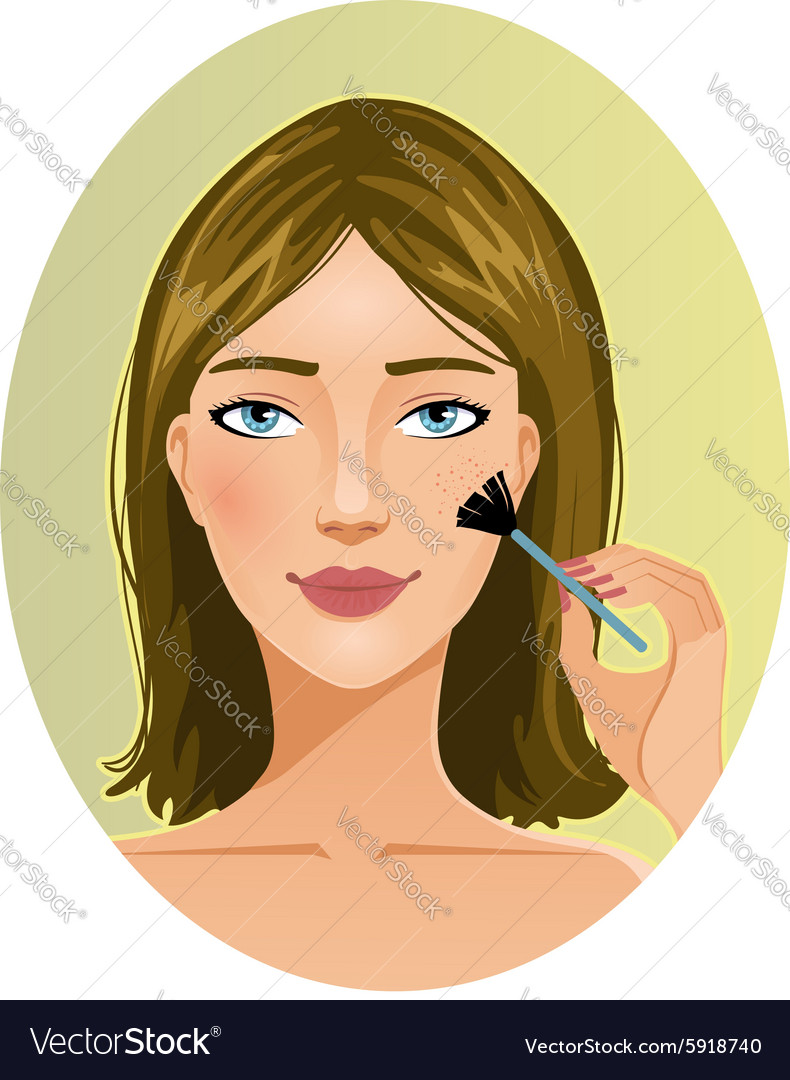 Young woman applies rouge on her cheek vector