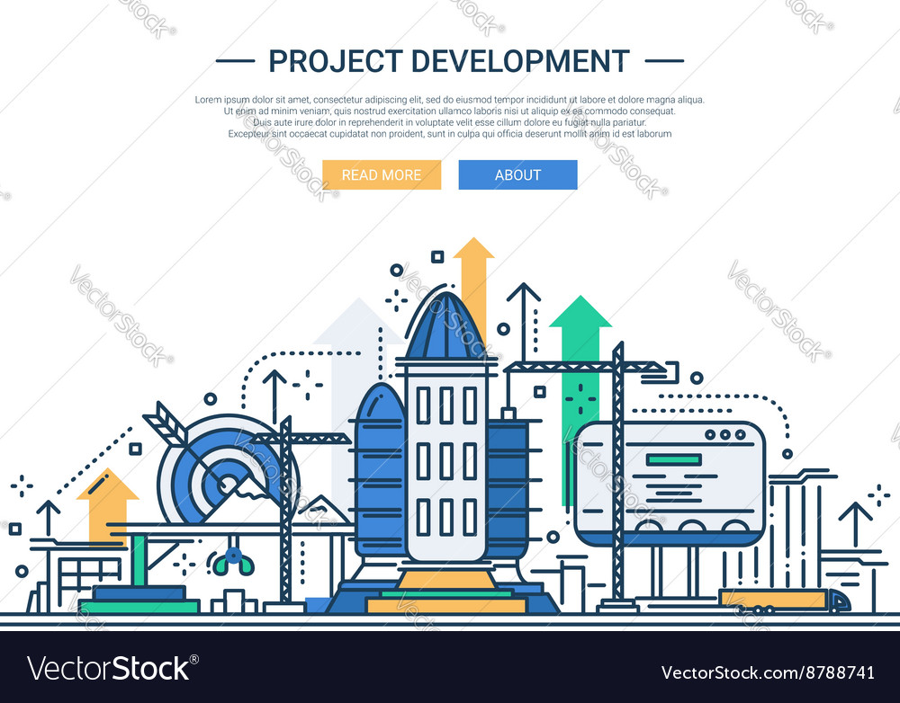 Project development  line design website banner vector