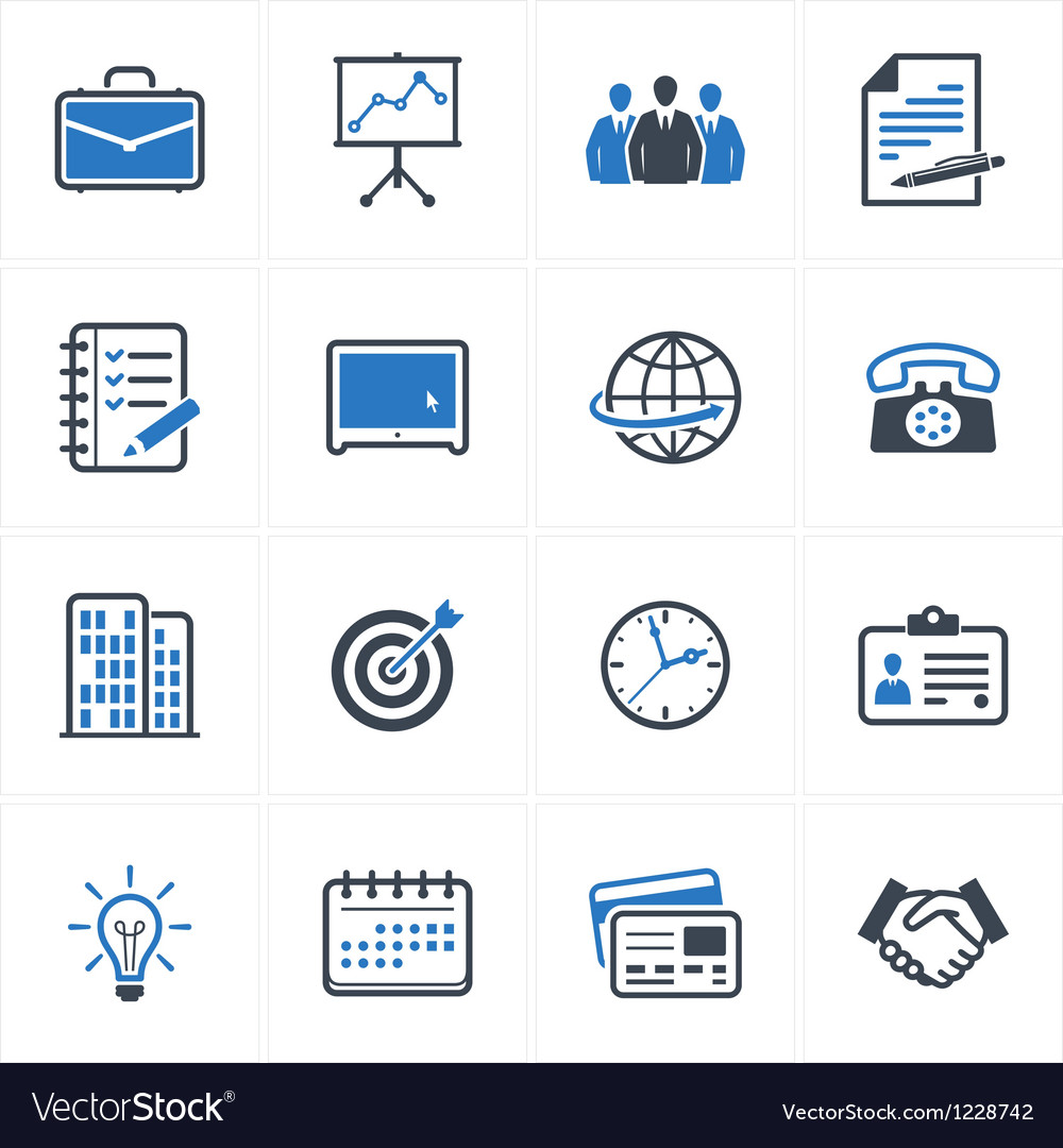 Business and office icons color  blue series vector