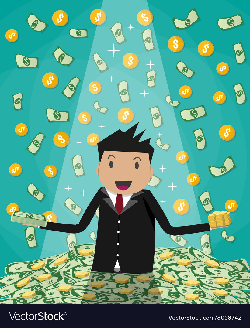 Businessman raising from huge money bills pile vector