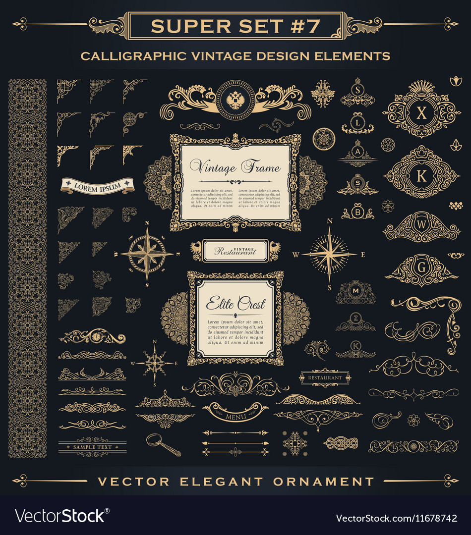 Calligraphic vintage elements baroque set vector
