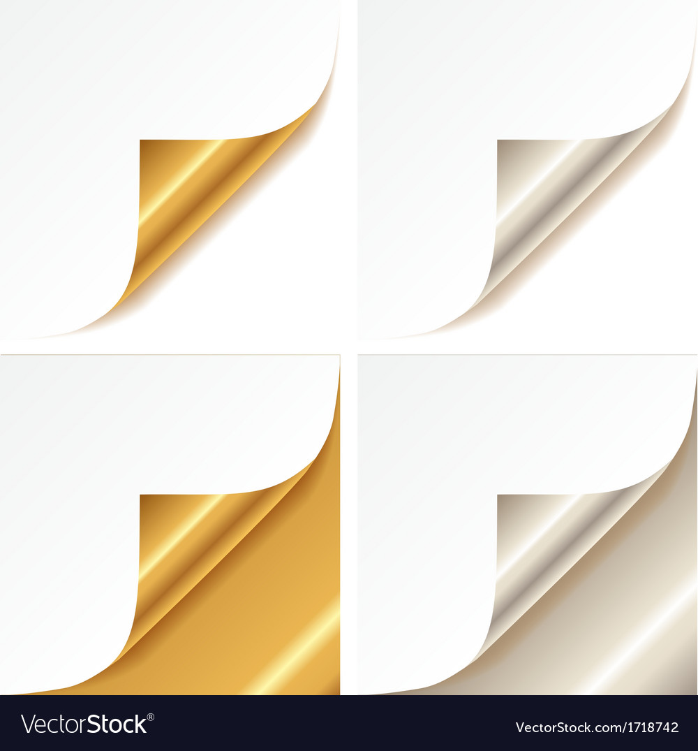 Curled golden and silver page corner vector