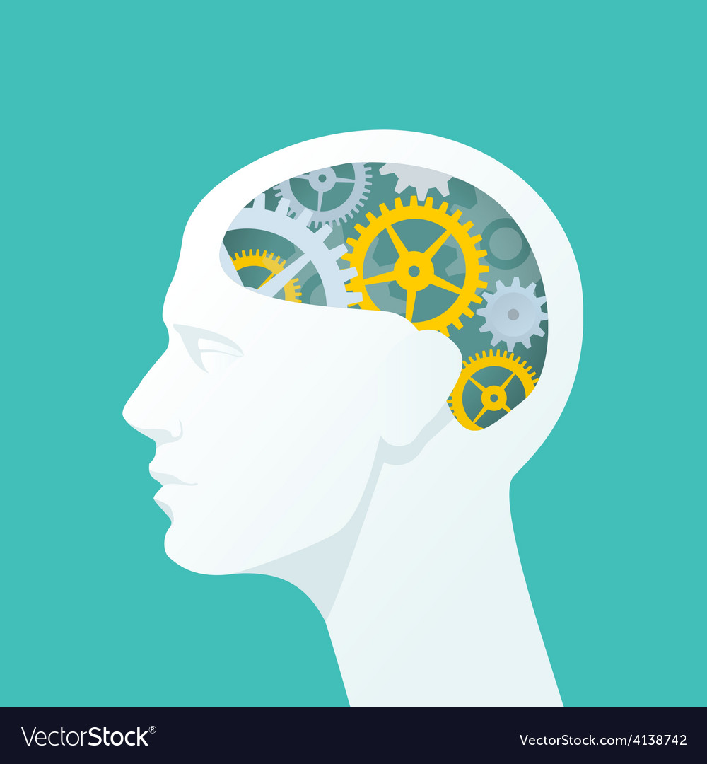 Human head with gears head thinking vector