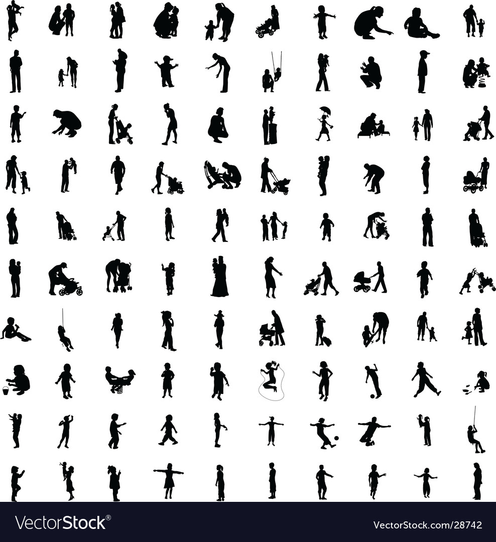 One hundred silhouettes of parents vector