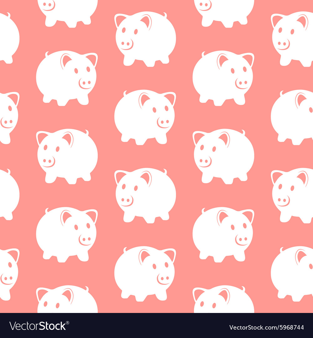 Piggy bank seamless pattern vector