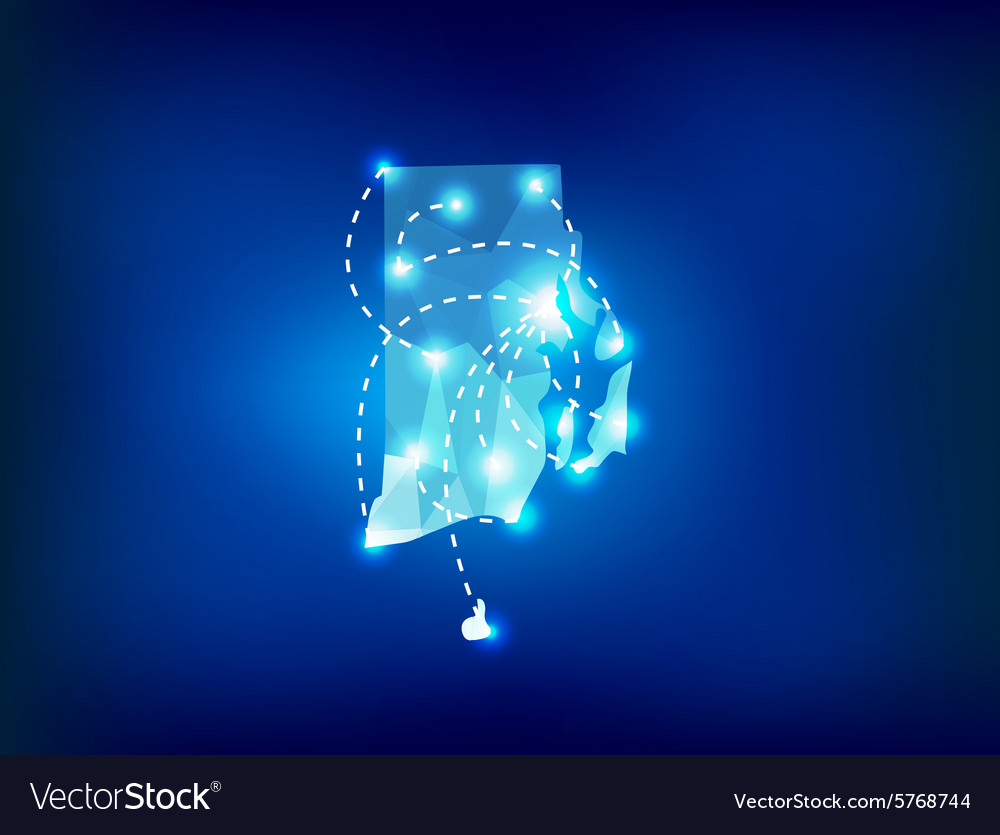 Rhode island state map polygonal with spot lights vector