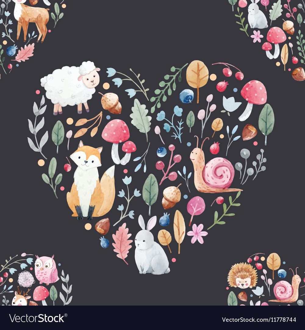 Watercolor pattern with animals flowers vector