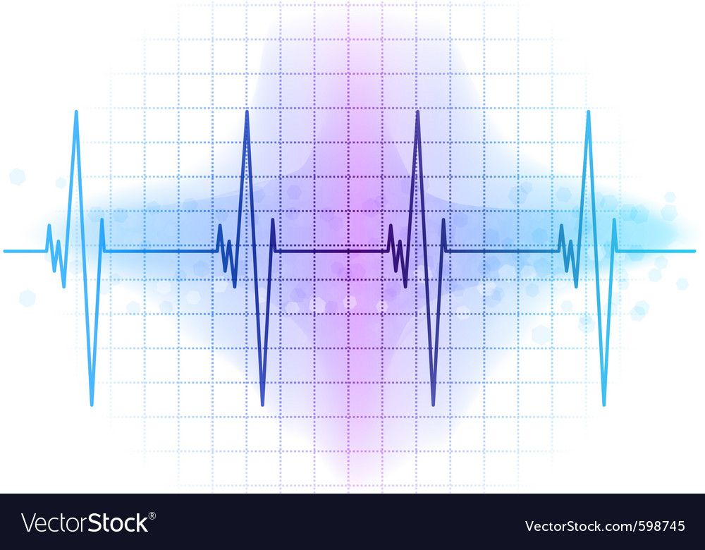 Light blue heart beat diagram vector