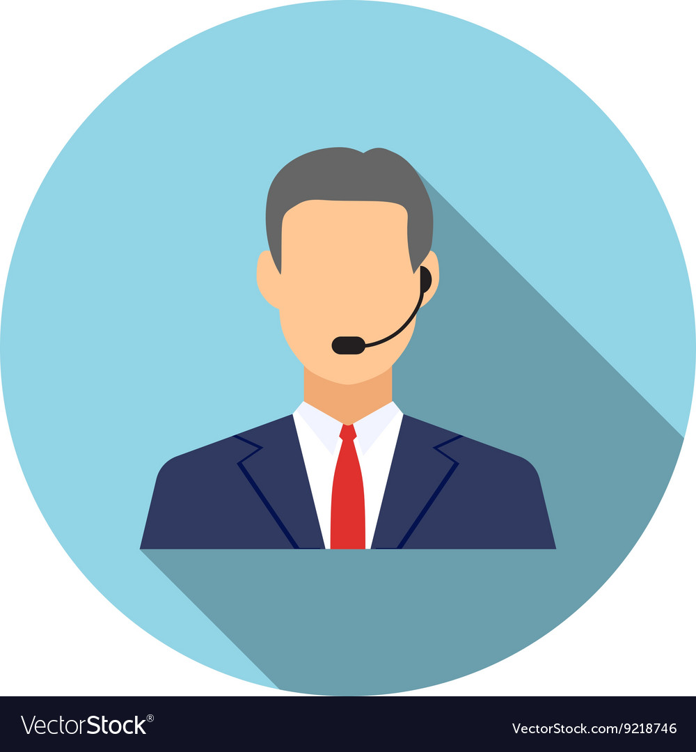 Call center operators man avatar icons vector
