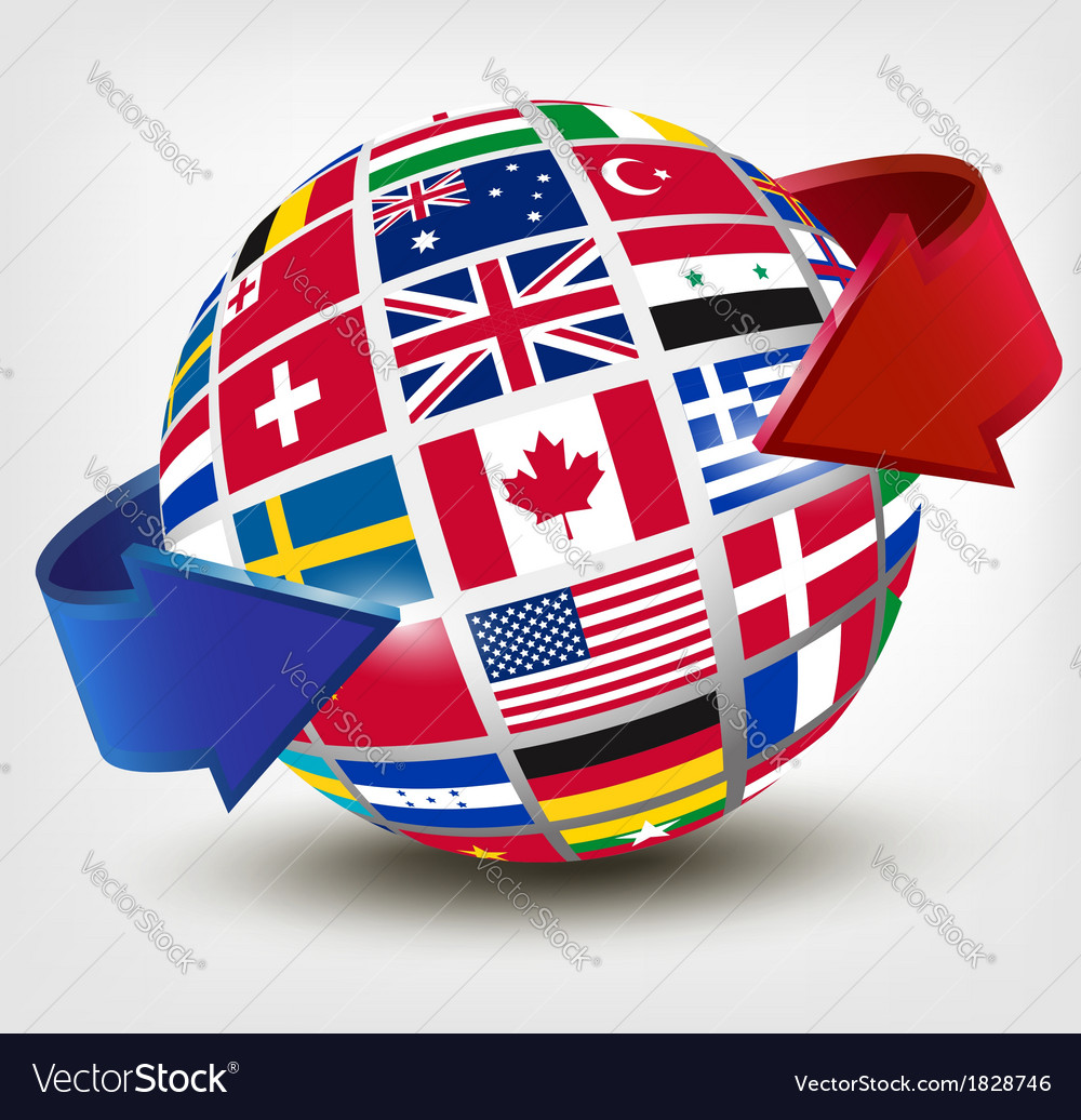 Flags of the world on a globe with an arrow vector