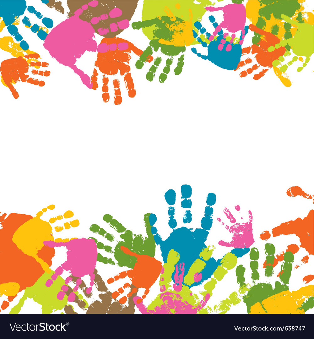 Abstract background prints of hands of the child vector