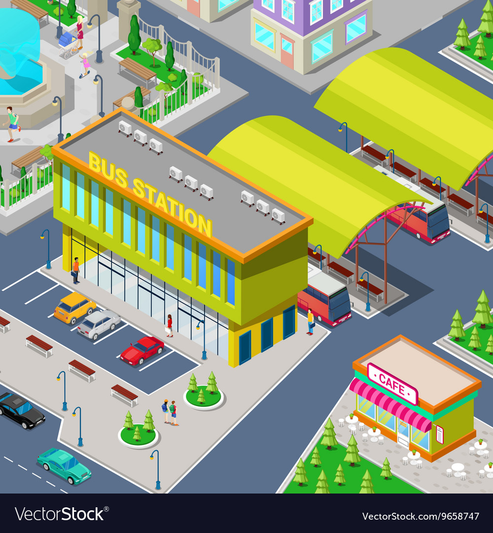 Isometric city bus station with buses vector