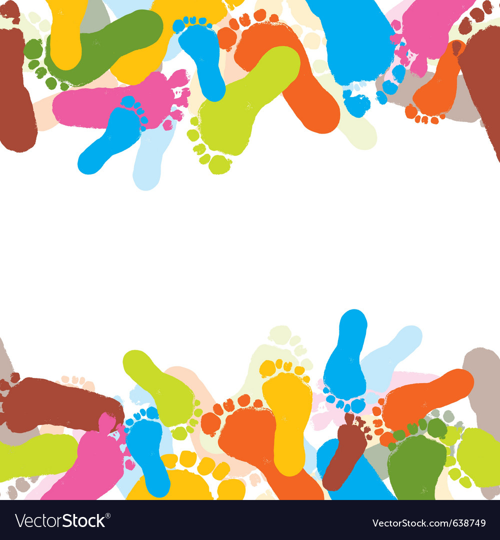 Abstract background prints of foots of the child vector