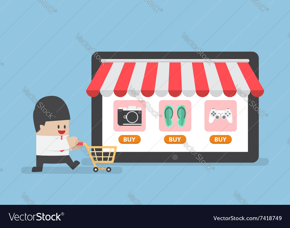 Businessman with shopping cart in front of online vector