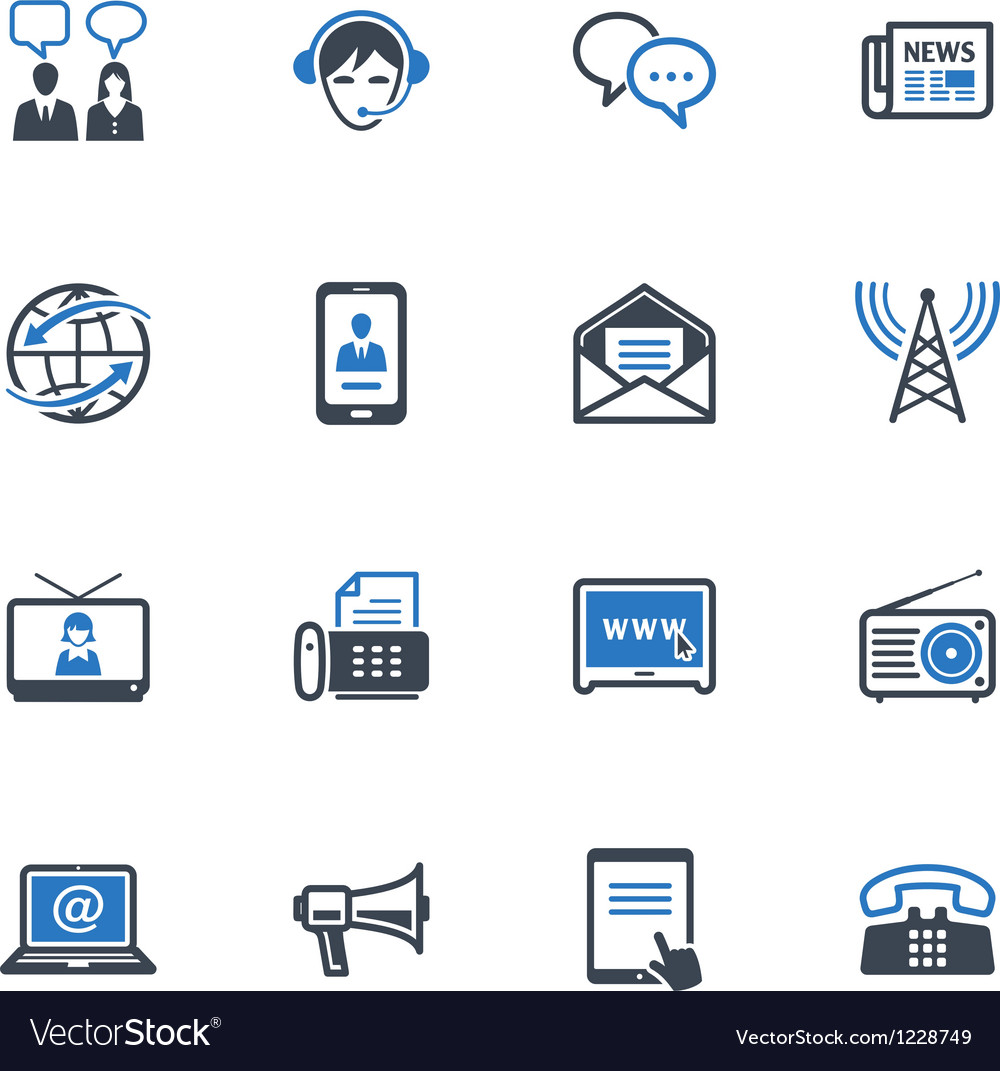 Communication icons set 2  blue series vector