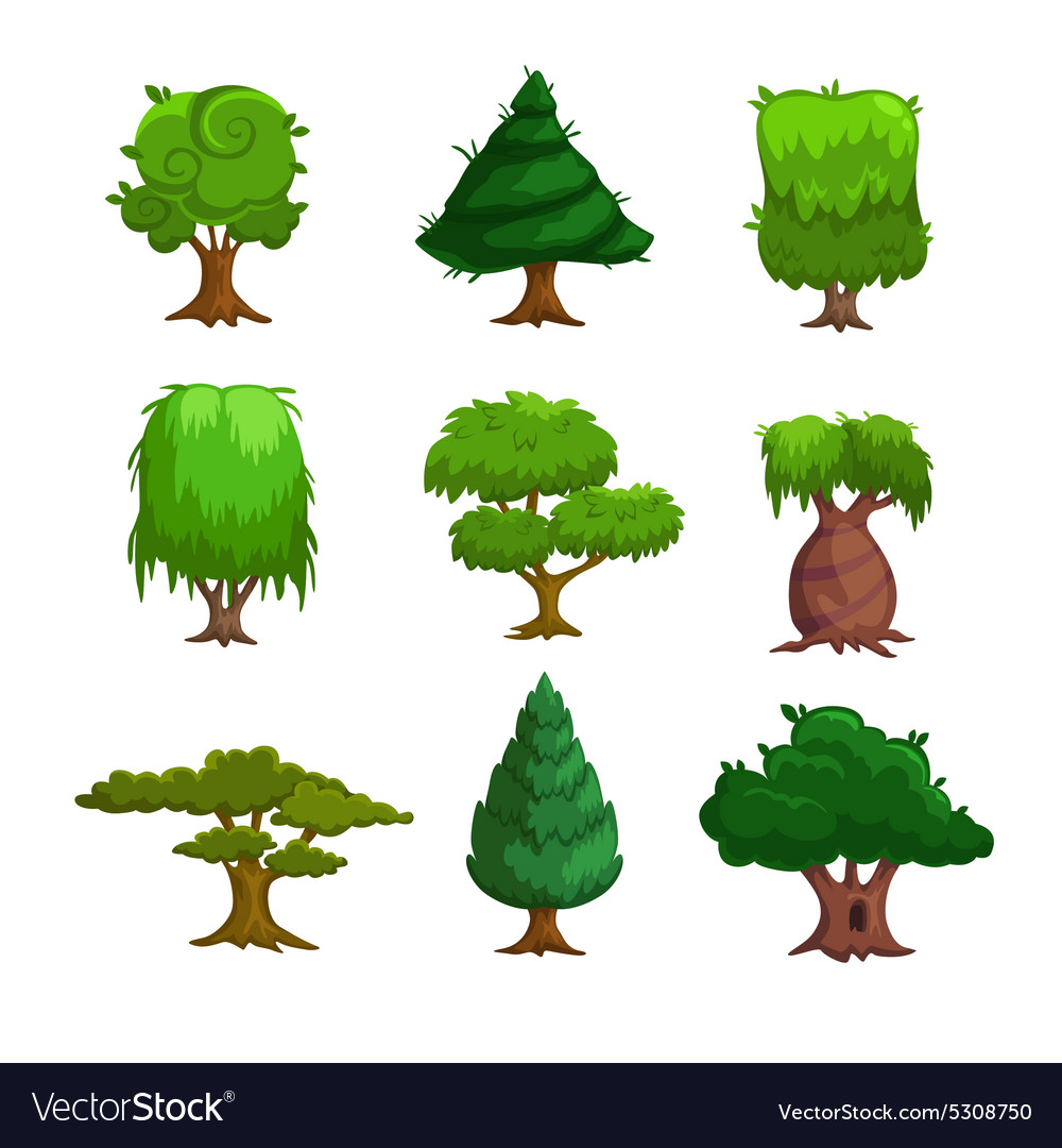 Cartoon trees set vector