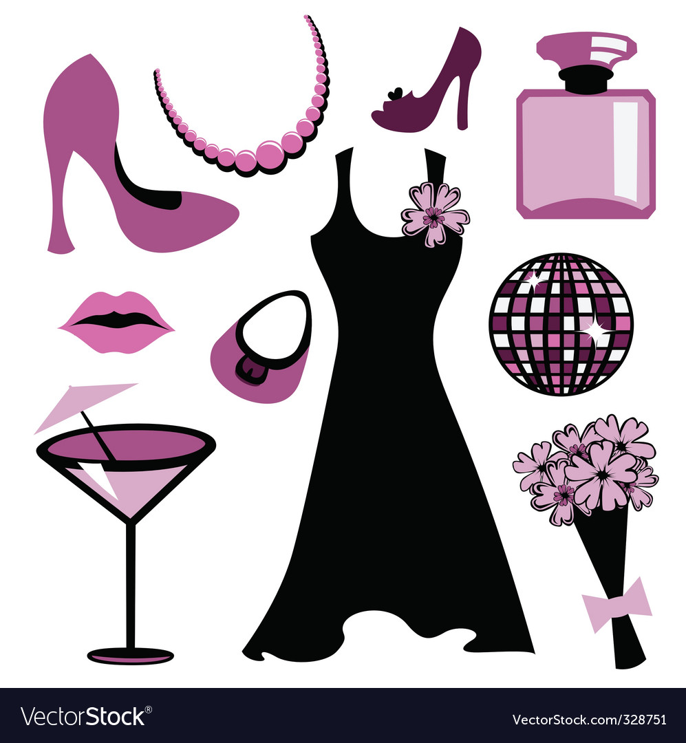 Woman accessories set vector