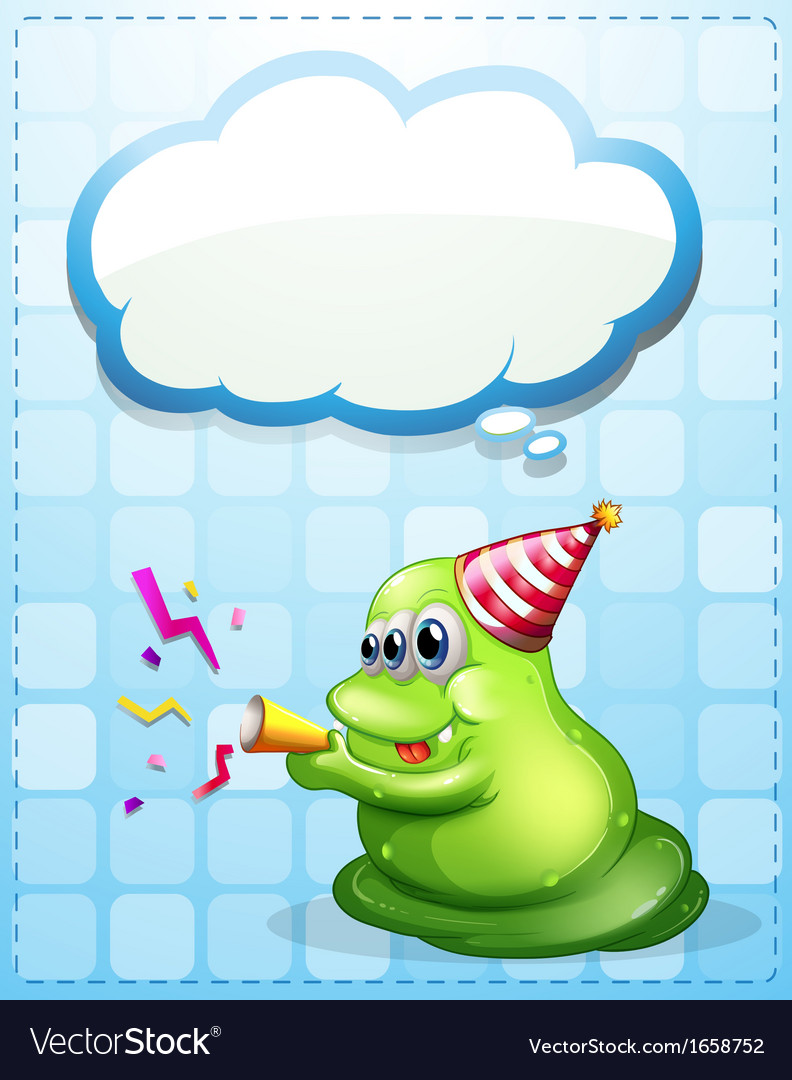 A green monster celebrating with an empty cloud vector