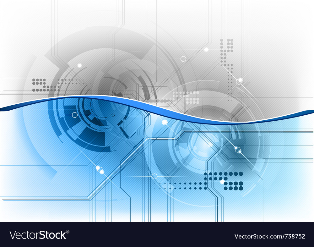 Blue tech background with wave vector