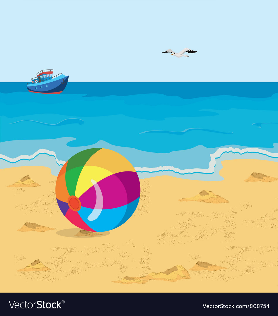 Ball on the beach vector