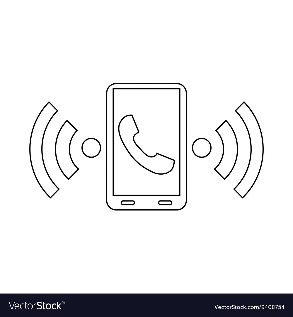 Incoming call to the phone icon outline style vector