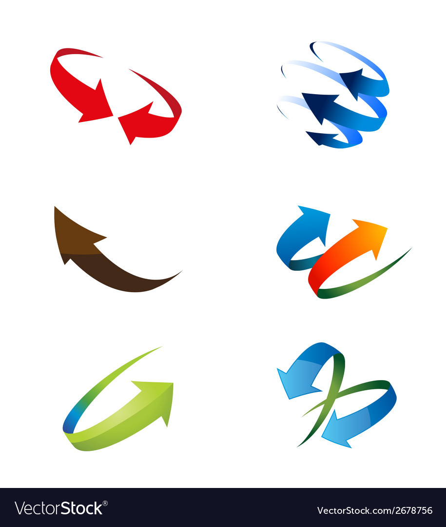 3d global arrow icon set vector