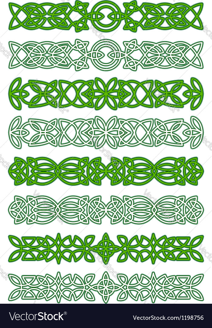 Green celtic ornament elements vector