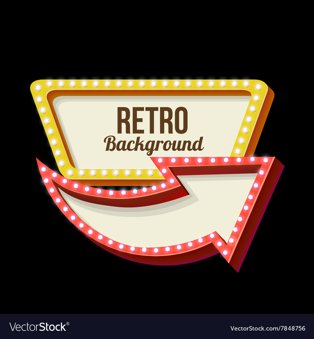 Night retro sign with lights vector