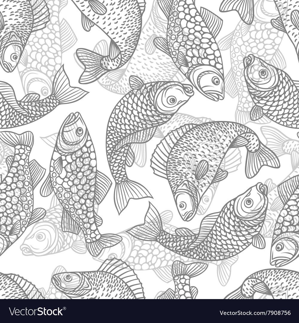Seamless pattern with decorative fish background vector