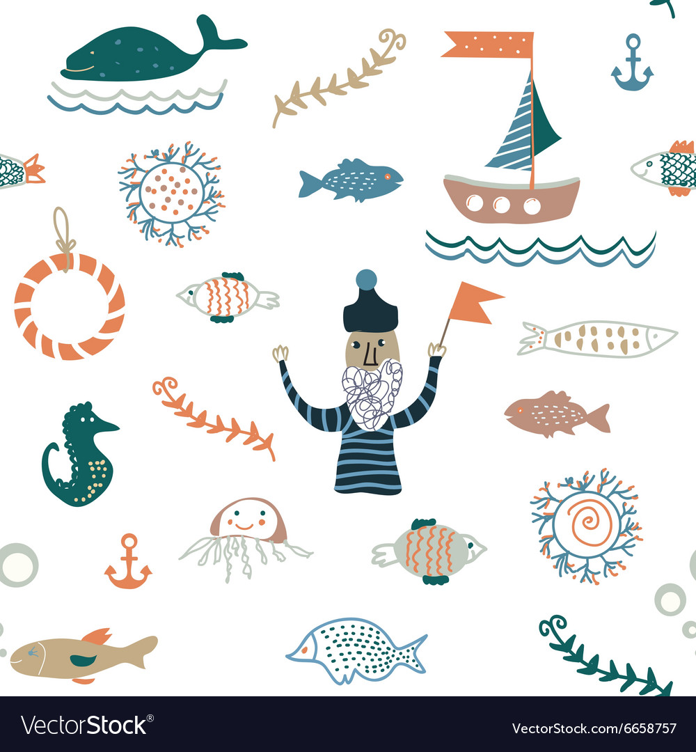 Fishes and sea food seamless pattern  nice design vector
