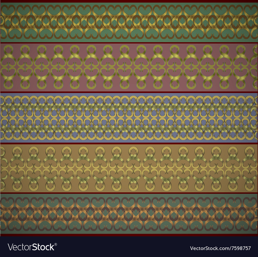 Set of ethnic seamless borders ribbons in various vector