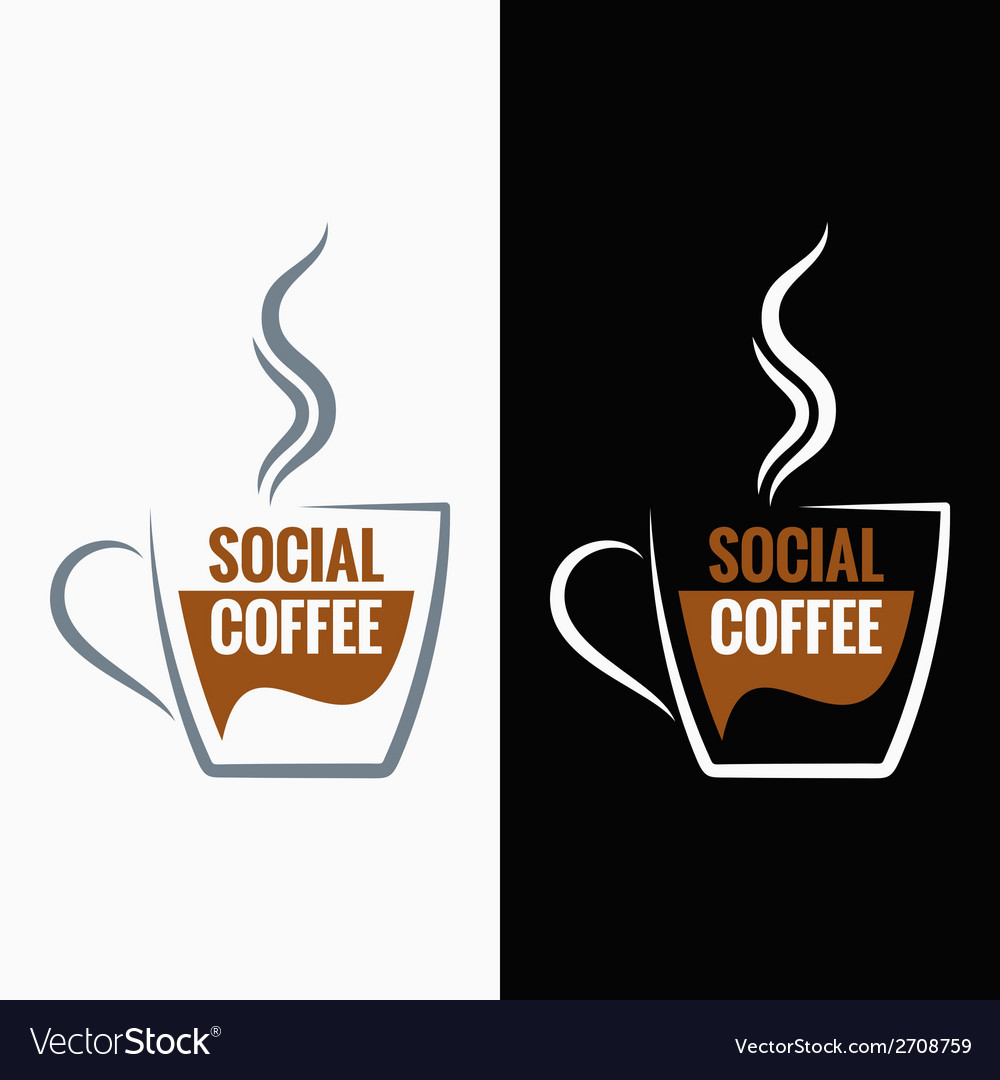 Coffee cup social media concept background vector