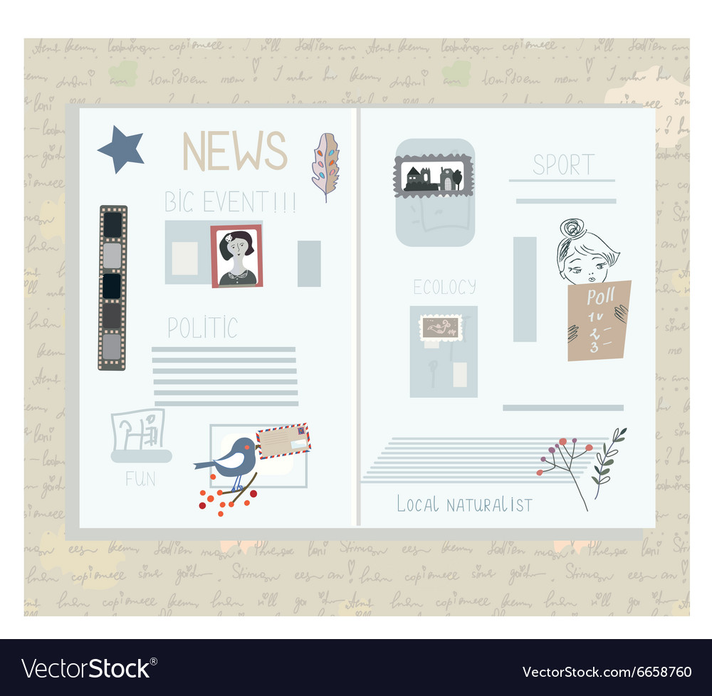 Retro newspaper design elements  funny vector